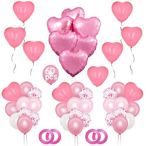 NHHEO Palloncini Rosa, Palloncini Cuore Rosa, 60 Pezzi Palloncini Rosa e Bianchi per Matrimoni, Anniversari, San Valentino, Decorazione Festa di Compleanno (Rosa)