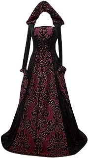 Aniywn Halloween Women Medieval Dress Long Sleeve Floral Print Hooded Long Maxi Cosplay Cloak Dresses