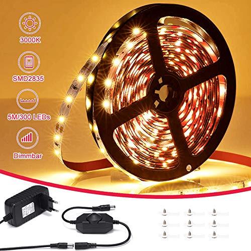 LED Streifen Warmweiss, VOYOMO LED Strips 5M Lichtband Dimmbar 3500K Selbstklebend 2835 LED Band 12V Innenbeleuchtung für Party Küche Weihnachten Haus Deko