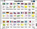 Larsen GP2 MemoPuzzle. Nombres, Banderas y Capitales de los 27 Estados Miembros de la UE., edición en Español, Puzzle de Marco con 54 Piezas