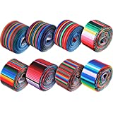 8 Rolls Fiesta Ribbons Mexican Serape Ribbon Rainbow Stripes Ribbon Colorful Grosgrain Ribbons for DIY Wrapping Fall Party Home Decorations Hair Bow Sewing Crafts Making (Colorful)