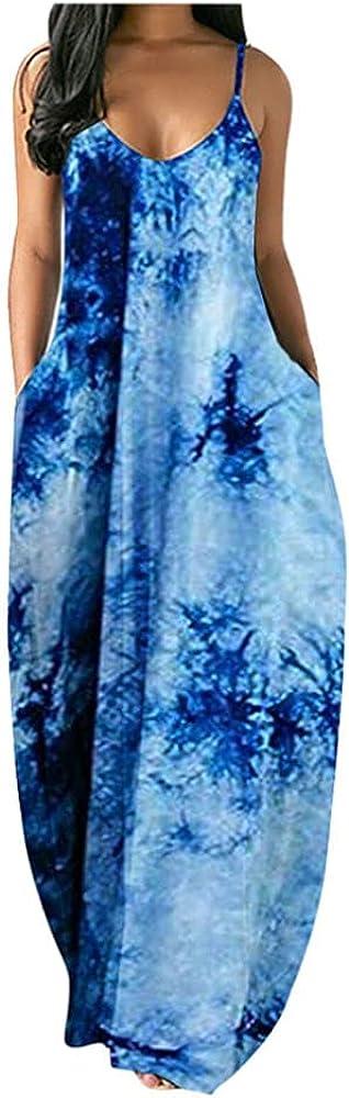 Canika Women Dress Fashion Women's Loose Casual Summer Striped Print Pocket Sling Sleeveless Dress with Pocket
