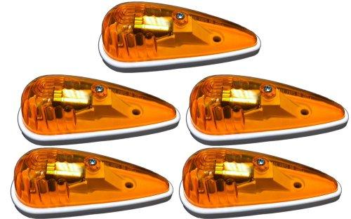 5 Pack of Amber Truck/RV Cab Marker Lights - Teardrop Shape