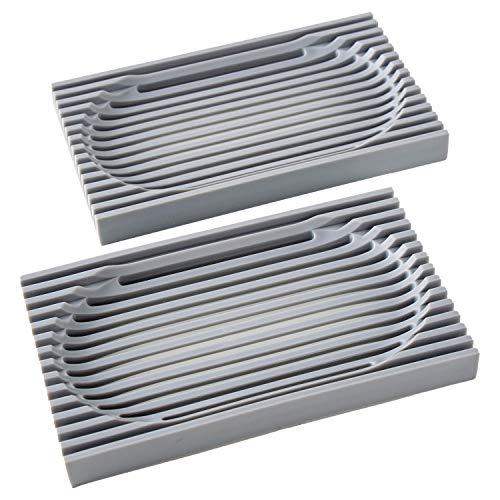 JIEOU 2 PCS Soap Dish for Kitchen Sink Sponges,Drainage Bar Soap Holder for Shower Bathroom(Grey)