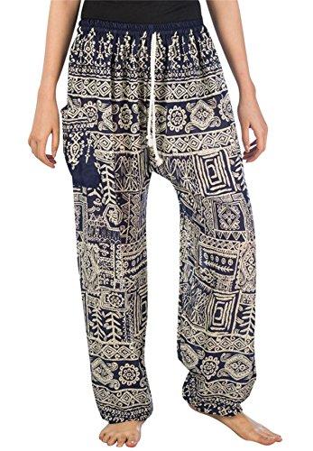 Lofbaz Harems-byxor för kvinnor med dragsko, Funky mörkblå, S