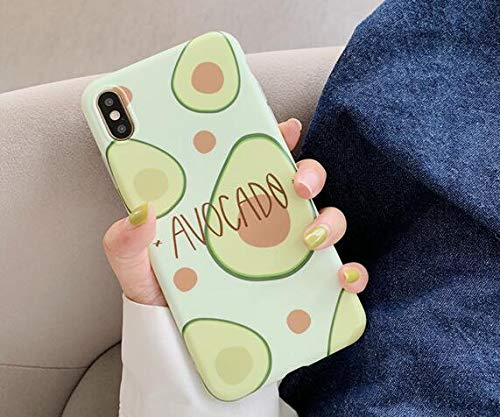Sencillo Gracioso cómic Fruta Aguacate Piña Cáscara Funda de Silicona Blanda Carcasas y Fundas Compatible con iPhone 6 7 8 Plus X XS XR MAX (iPhone 6 6S 4.7'', Aguacate)