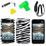 Phone Case Cover Cell Phone Accessory + Car Charger + Extreme Band + Stylus Pen + LCD Screen Protector + Yellow Pry Tool for Straight Talk LG Optimus Fuel L34C / Verizon LG Optimus Zone 2 VS415 Vs415pp (Zebra)