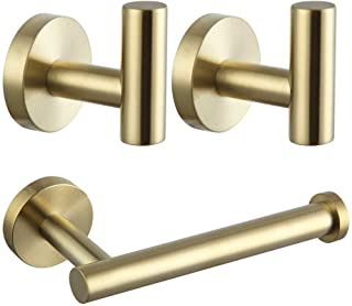 Bathroom Hardware 3-Pieces Set SUS 304 Stainless Steel Wall Mounted - Includes Toilet Paper Holder, 2x Robe Towel Hooks, B...