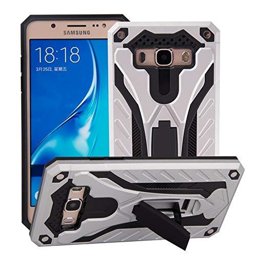 Aralinda Carcasa rígida a prueba de golpes de doble capa 2 en 1 Armor PC+TPU protectora de soporte compatible con Samsung Galaxy J7 (2016) J710 (Color: Plata)