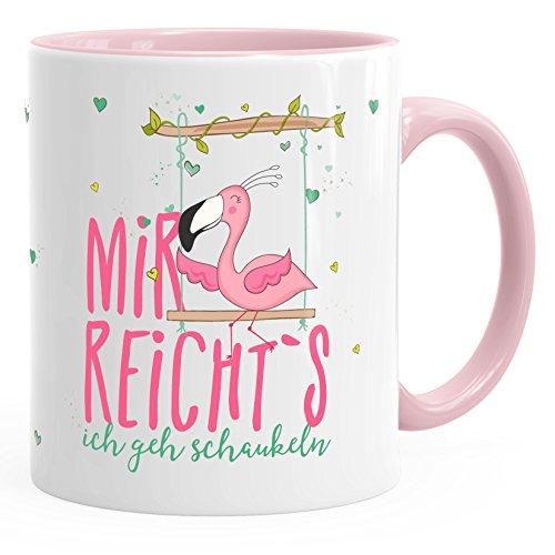 MoonWorks Kaffee-Tasse Flamingo Mir reichts ich GEH schaukeln Sprüche Spruch Teetasse Keramiktasse rosa Unisize