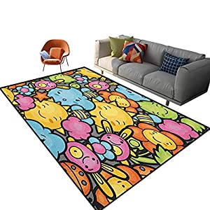 Nursery Indoor Area Rug Cute Cartoon Characters Happy Sun Bunnies Trees Bugs Clouds Bees Kawai Art Design Carpet for Girls Kids Baby Room Nursery Mats 6'x 9′