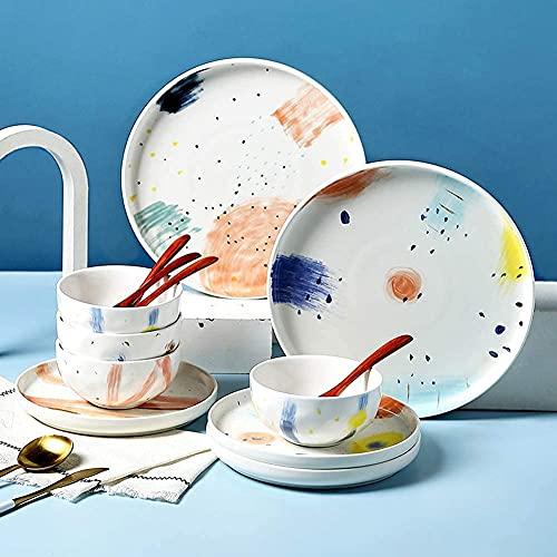 HCFSUK Plato bajo del Plato de Cena del Cuenco de Porcelana de Hueso Pintado a Mano Creativo de 14 Piezas, Juego de vajilla Moderno
