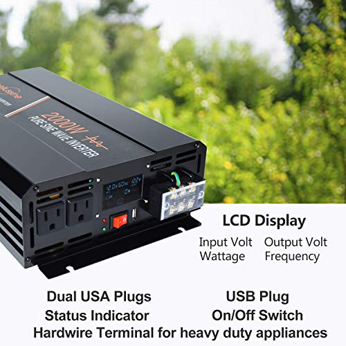 aeliussine 2000 watt Pure Sine Wave Inverter 12v dc to ac 120v with LCD Display with Remote Switch Power Inverter for Car Off Grid Solar Power System (2000W12V LCD)