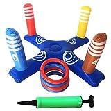 SIMUR Anillas Juego de Lanzamiento,Inflable Cross Ring Toss Game Juego Cross Head Target Ring Toy con Bomba de Aire e Bomba para Fiesta en la Piscina en la Playa Juguetes (1 Cross and 4 Rings)