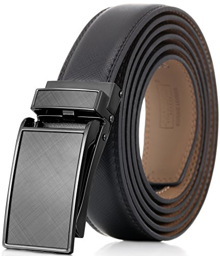 """Marino Avenue Men's Genuine Leather Ratchet Dress Belt with Linxx Buckle - Gift Box - Charcoal Depiction - Black - Adjustable from 28"""" to 44"""" Waist"""