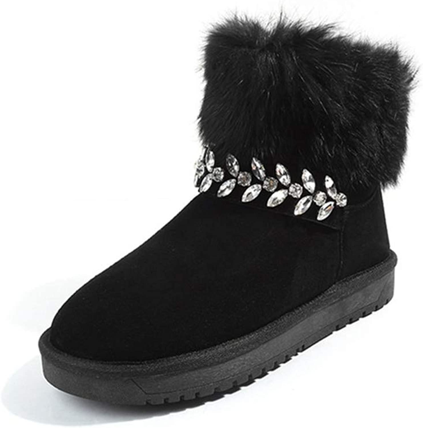 T-JULY Women's Cow Suede Winter Boots Low Heel Non-Slip Warm Ladies Plush Snow Boots Crystal Sweet Ankle Boots