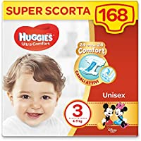 HUGGIES Pannolini Ultra Comfort, Taglia 3 (4-9 Kg), Confezione da 168 Pannolini (3 x 56)