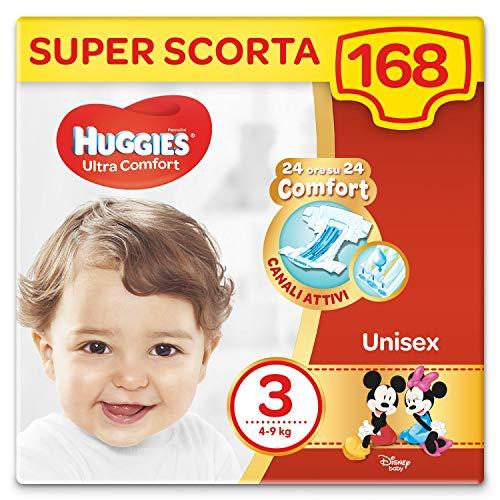 HUGGIES Pañales Ultra Comfort Talla 3 (4-9 kg), paquete de 168 pañales (3 x 56)