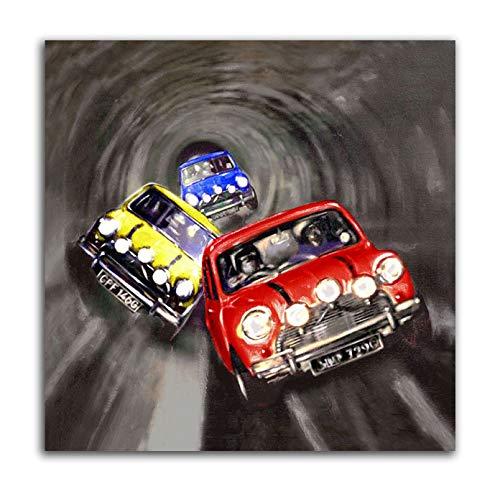 Trabajo Italiano-Mini Cooper Túnel Clásico Coche Lienzo Póster Impresión Pared Arte Imagen Hogar Decoración De Habitación de Niños Pintura (16x16inch(40x40cm),no Enmarcado)