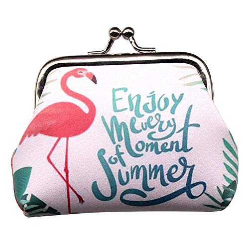 JUNGEN Porte-Monnaie Fermoir clic clac Design rétro Sac Motif Flamingo Portefeuille Femme Trousse de Toilette pour Rangement Rouge à lèvres Parfum (#10)