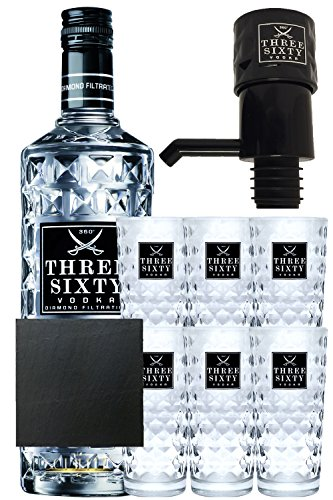 Three Sixty Vodka 3,0 Liter Geschenkset mit 6 Gläsern und Pumpe