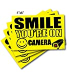 (4) 4' x 6' Smile You're On Camera Sticker, Camera in Use Decal, Security Camera Signs Outdoor Decal Sticker