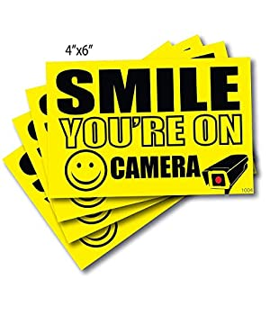 4  4  x 6  Smile You re On Camera Sticker Camera in Use Decal Security Camera Signs Outdoor Decal Sticker