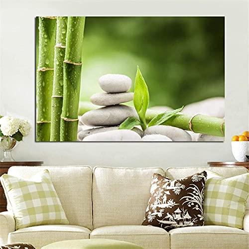 Estilo nórdico 60x80 cm piedra de aguas termales sin marco impresiones y carteles de bambú verde arte moderno popular Giclee cuadros de pared decoración del hogar decoración de la sala de estar