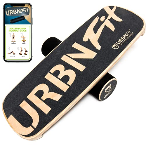 URBNFit Wooden Balance Board Trainer - Wobble Board for Surf, Hockey, & Snowboard - Balancing Board to Sculpt & Build Core Stability - Exercise Equipment w/ Workout Guide