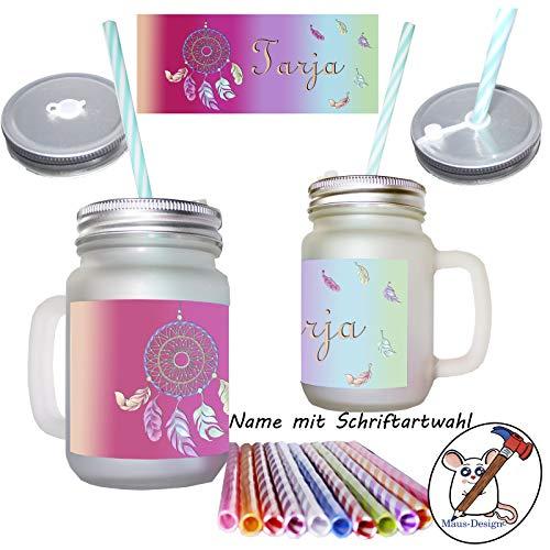 Traumfänger Henkelglas mit Name/Mason Jar/mit Deckel und Mehrweg-Trinkhalm/Glas/Sommerglas/Glas mit Deckel, Henkel und Strohhalm/Cath me/Personalisiert/Geschenk/Geschenkidee/mit Name/mit Namen