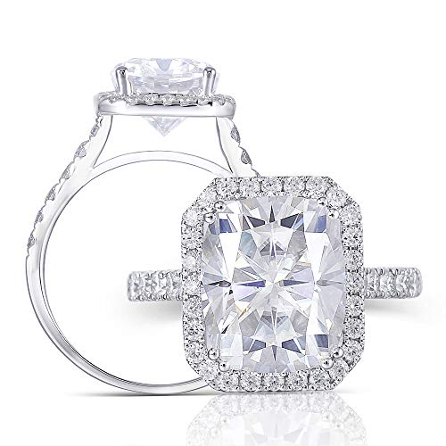 14K White Gold Center 5ct 9X11mm G-H-I Color Cathedral Set Elongated Cushion Cut Halo Moissanite Engagement Ring with Accents for Women (7)