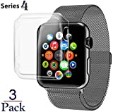 Josi Minea x3 Pcs Protective Snap-On Case with Built-in Screen Protector - Shockproof & Anti-Scratch Shield [ PC Hard Clear ] Thin Cover Compatible with Apple Watch Series 5 & 4 [ 44mm - 3 Pack ]