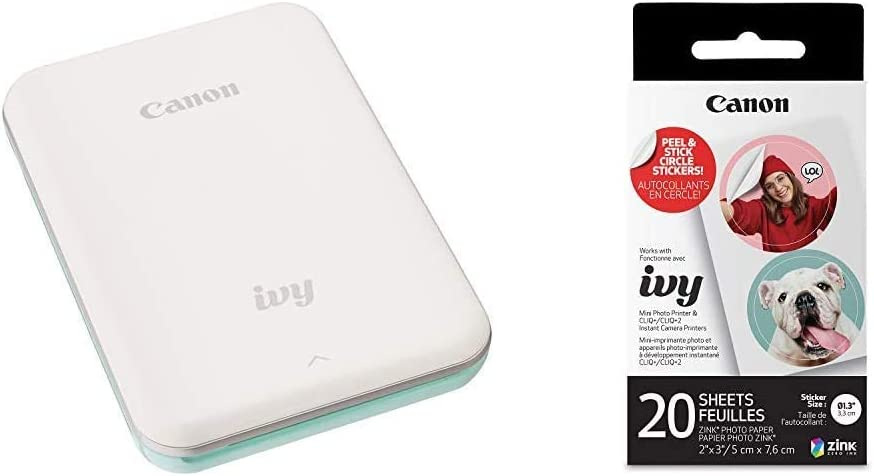 Canon Ivy Mobile Mini Photo Printer Through Bluetooth(R), Mint Green with Zink Pre-Cut Circle Sticker Paper, 20 Sheets