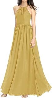 Jonlyc A-Line Halter Chiffon Open Back Long Bridesmaid Dresses Evening Gowns
