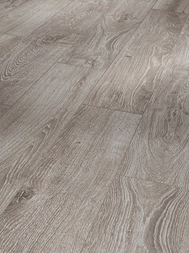 Parador Klick Laminat Bodenbelag Basic 600 Eiche Lichtgrau Landhausdiele Seidenmatte Struktur Fuge 2,186m² hochwertige Holzoptik hell grau, 8 mm, einfache Verlegung