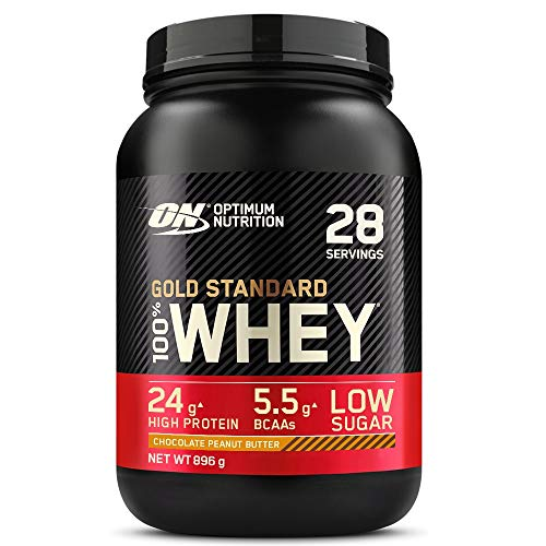 Optimum Nutrition ON Gold Standard Whey Protein, Muscle Building Powder With Naturally Occurring Glutamine and Amino Acids, Chocolate Peanut Butter, 28 Servings, 896 g, Packaging May Vary