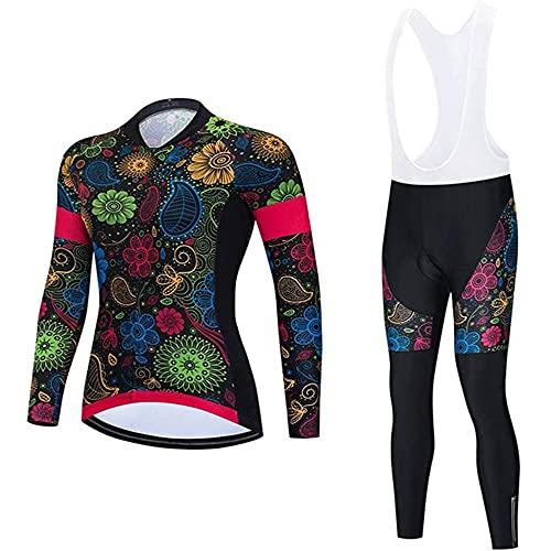 Conjunto de Maillot de Ciclismo para Mujer, Traje de Ciclismo for Mujeres, Traje de Ciclismo de Bicicleta de montaña de Alta Calle, Pantalones Cortos de Ciclismo de Manga Larga con cojín 3D