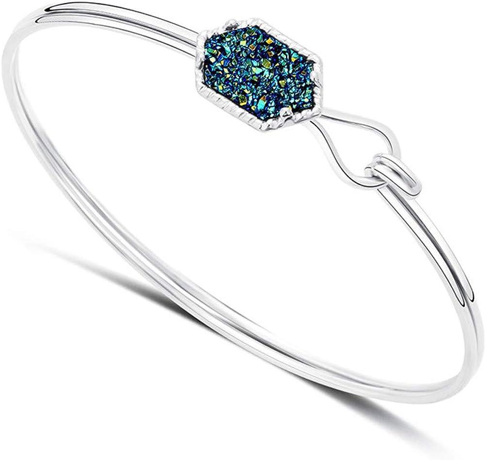 Aineecy Blue Druzy Quartz Diamond Shape Bangle Bracelet Double L