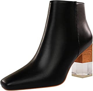 ELEEMEE Women Fashion Chunky Heel Autumn Boots