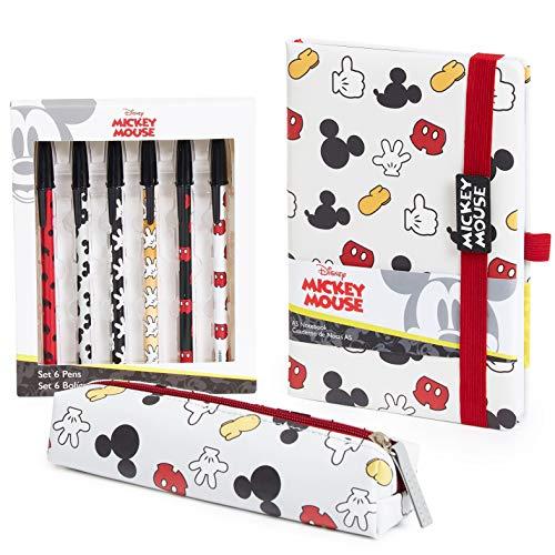 Disney Mickey Mouse Set Papeleria, Incluye Estuche Escolar Cuaderno A5 y Set de 6 Boligrafos Bonitos, Material Escolar o de Oficina, Regalos Originales Para Mujer Niñas