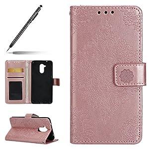 Uposao Kompatibel mit Handyhülle Huawei Honor 6C Leder Tasche Handytasche Retro Prägung Mandala Blumen Muster Lederhülle Flip Wallet Case Brieftasche Klapphülle Kartenfach,Rose Gold