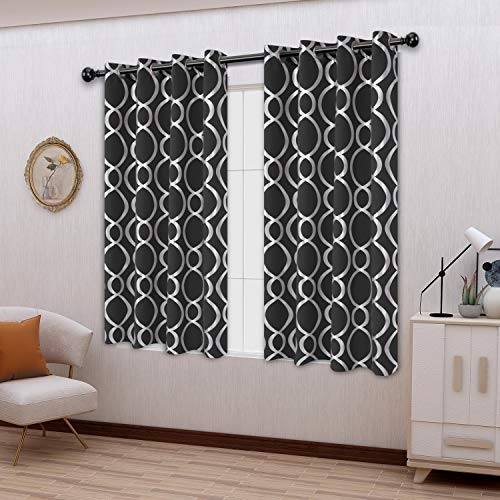 LORDTEX Geometric Foil Print Blackout Curtains for Bedroom and Living Room - Sun Light Blocking, Thermal Insulating Curtain Panels, Grommet Top Window Drapes, Set of 2, Black, 52 x 63 Inches Long