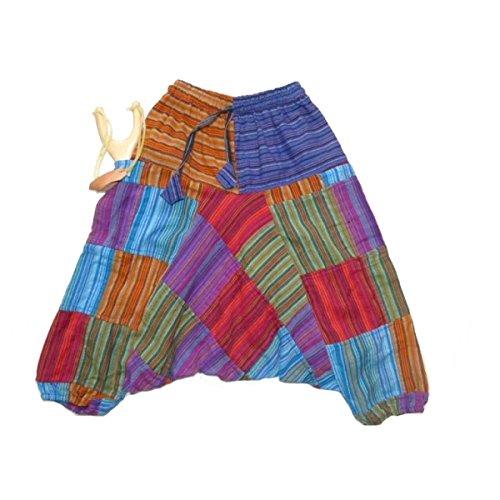 Simandra Kinder Haremshose Aladinhose Pumphose Hose indisch orientalisch Patchwork Baumwolle bunt mit Taschen (M)