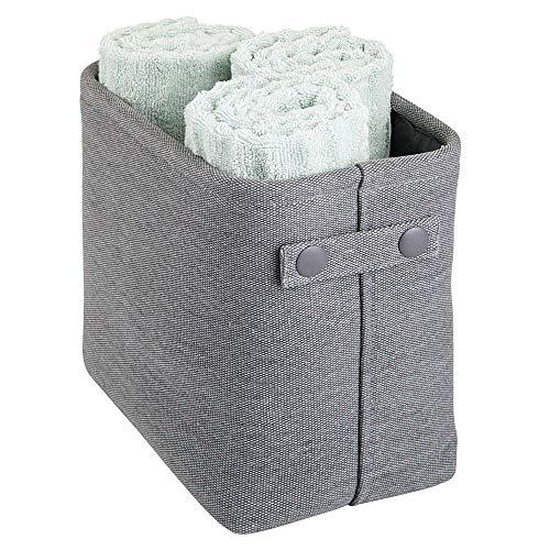 mDesign Aufbewahrungskorb mit Innenbeschichtung und Strukturdesign – ideal zur Kosmetikaufbewahrung – praktischer Badezimmer Organizer aus Baumwolle mit Henkeln – grau