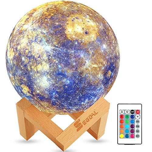 SEGOAL Mercury Lamp Moon Lamp Kids Night Light 16 Colors LED 5.9 Inch 3D...