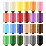 Filo da Cucito 24 Colori Kit di Cucito 900m per Bobine 100% Poliestere Colorato, Setoso e Resistente con 16 Aghi e 2 Infila Adatte per Cucire a Macchina e Cucire a Mano