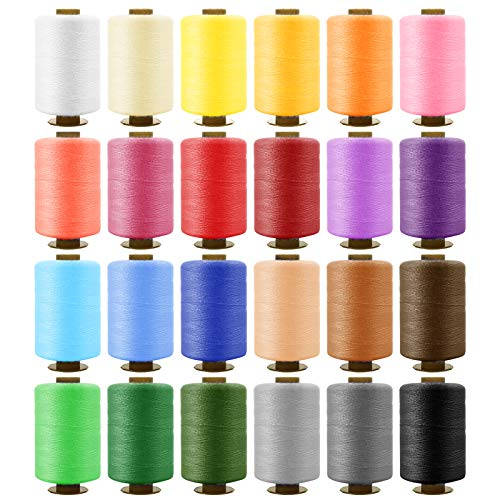 SOLEDI Kit de Costura de Bobinas de 24 Hilos de Colores para Coser, 16 Agujas para Coser y 2 Enhebradores Adecuados para Coser ropa a Mano y a máquina - Acolchado - Bordado - Costura