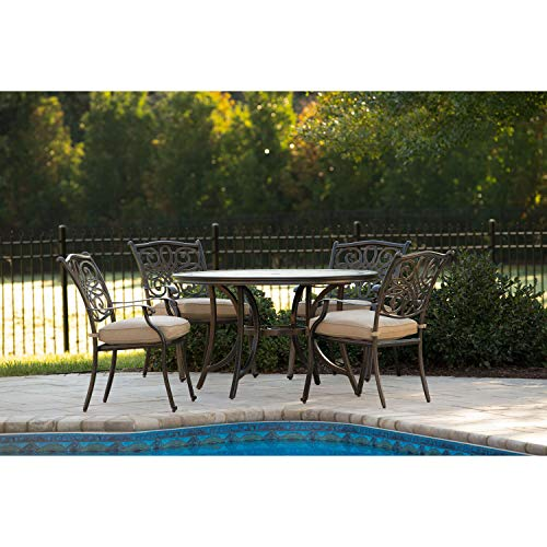 """Hanover MONDN5PC, 4 Cushioned Chairs and 51"""" Round Tile-Top Table Monaco 5-Piece Outdoor Furniture Patio Dining Set"""