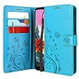 CMID LG K50S Hülle, PU Leder Brieftasche Handytasche Flip Bookcase Schutzhülle Cover [Kartensteckplatz][Ständer][Handschlaufe] für LG K50S (Blau)