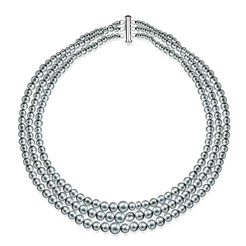 Sterling Silver Graduated 4-8.5mm Dyed-grey Freshwater Cultured Pearl Triple Strand Choker Necklace, 16'